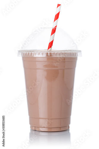 Obraz na plátně Chocolate milk shake milkshake straw in a cup isolated on white