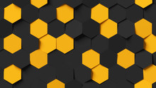 Abstract Black And Yellow Hexagon Background 3d Rendering, 3d Illustration