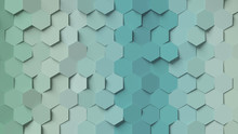 Abstract Gradient Green And Blue Hexagon Background; Pastel Color Honeycomb Pattern Composition 3d Rendering, 3d Illustration