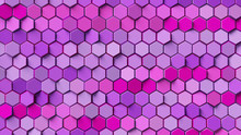 Pink And Purple Hexagon Background; Abstract Honeycomb Pattern Composition 3d Rendering, 3d Illustration