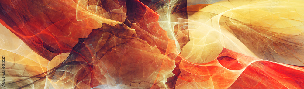 Fototapeta Abstract future background. Red and yellow color banner. Fractal artwork for creative graphic design