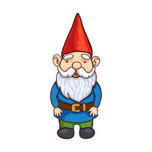 Vector Colorful Illustration Of Garden Gnome. Cute Fairytale Character