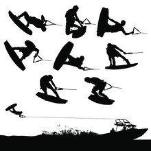 Vector Wakeboarding Silhouettes Of In-air Action And A Boat Pulling A Wakeboarder.