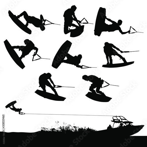 Obraz Vector wakeboarding silhouettes of in-air action and a boat pulling a wakeboarder. - fototapety do salonu