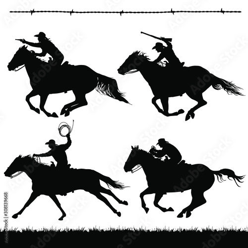 Cuadros en Lienzo Vector silhouettes of outlaws, lawmen or cowboys running on horses