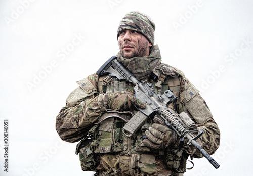 Portrait of modern army infantryman on march Tablou Canvas