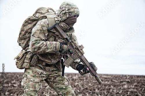 Portrait of modern army infantryman on march Tapéta, Fotótapéta