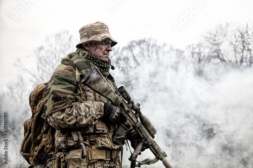 Fényképezés Brutal commando army veteran armed sniper rifle