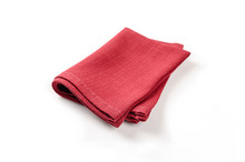 Red Napkin Isolated On White B...