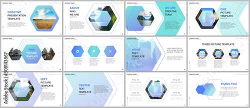 Obraz Minimal presentations design, portfolio vector templates with hexagonal design background, hexagon style pattern. Multipurpose template for presentation slide, flyer leaflet, brochure cover, report. - fototapety do salonu