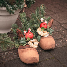 Christmas Festive Composition With Natural Wooden Shoe For St Nicholas Day, Spruce Branches, Cones, Festive Home Decor
