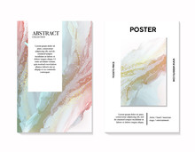 Soft Tender Pastel Art With Liquid Flow In Rose Green Colors, Watercolor Template. Abstract Shape Flow Modern Card For Invitation, Poster, Header, Website, Print Ads, Backrounds, Wallpaper