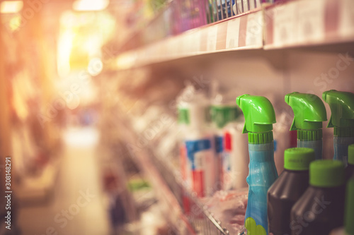 Photo Cleaning products, sprays and cans on supermarket shelf