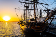 HMS Surprise Ship, A Tall Modern Replica Of HMS Rose Docked At Maritime Museum On The Waterfront Harbor Bay In San Diego, Southern California At Sunset.