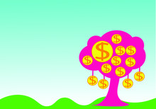Vector Many  Yellow Dollar Coin On Tree On Blue Gradient Background Vector Eps 10