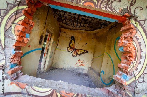 The ruins of the Maharishi Mahesh Yogi Ashram (Beatles Ashram) in Rishikesh, old center for transcendental meditation where the beatles learned this type of meditation Canvas Print