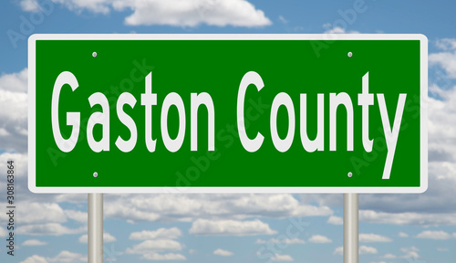 Rendering of a 3d green highway sign for Gaston County Poster Mural XXL
