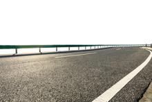 Empty Asphalt Road Highway Ground And White Background.