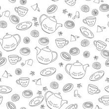 Tea Party Icon Set Pattern. Wa...