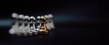 Gold Pawn Of Chess. Unique, Think Different, Individual And Standing Out From The Crowd Concept. Panoramic Image