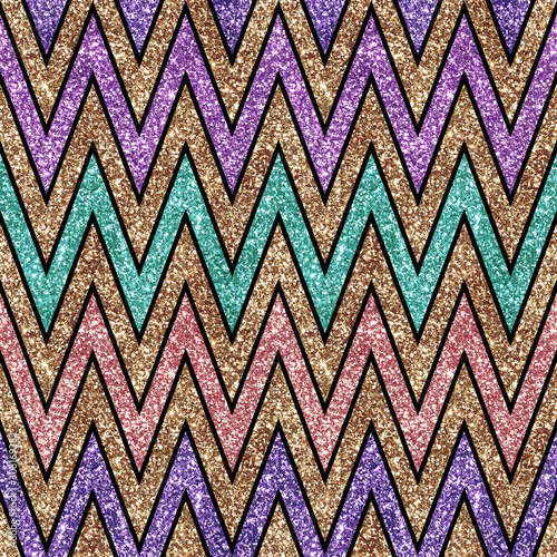 Holiday Glitter hand drawn artistic chevron geometrical  sparkling seamless back Canvas Print