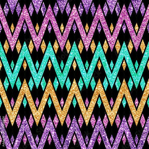 Photo  Holiday Glitter hand drawn artistic chevron geometrical  sparkling seamless back