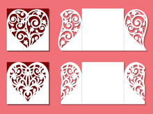 Set Of Gate Fold Invitation Cards. Laser Cutting Template Of Openwork Vector Silhouette. Lace Border At Vintage Style For Valentine's Day. Wedding Envelope With Pattern On The Ornate Heart.