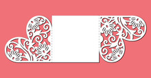 Gate Fold Invitation Card. Laser Cutting Template Of Openwork Vector Silhouette. Lace Border At Vintage Style For Valentine's Day. Wedding Envelope With Pattern On The Ornate Heart On Red Background.
