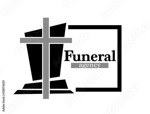 Funeral agency logo with headstone and cross in black frame Canvas Print