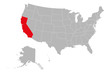 California map marked red on USA political map vector. Gray background