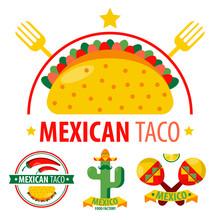 Mexican Taco Logo With Traditi...