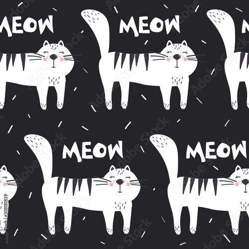 Cats, hand drawn backdrop. Black and white seamless pattern with animals. Decorative cute wallpaper, good for printing. Overlapping background vector. Design illustration