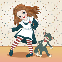 Girl In A School Dress With A White Apron And A Cat Dancing On A Polka Dot Wallpaper Background, Color Vector Illustration In Vintage Style