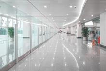 Commercial Building Corridor Hall, Windows Through Light.