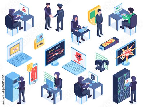 Fotografía  Hacker Isometric Icon Set