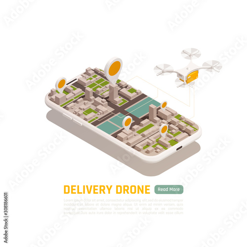 Drone Smart Delivery Background Wall mural