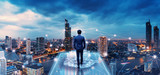Fototapeta City - Business man on future network city
