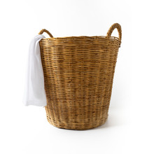 Wicker Clothes Basket Isolated