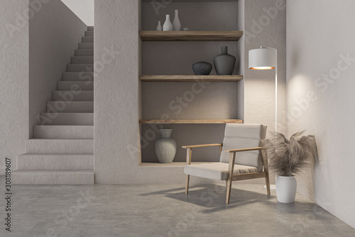 Living room interior with armchair and shelves