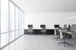 Panoramic open space office interior