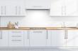 Leinwanddruck Bild - White kitchen countertops and cupboards
