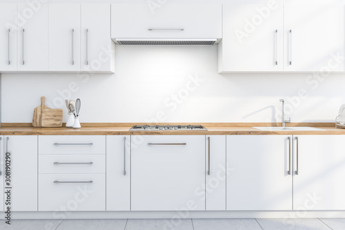Obraz White kitchen countertops and cupboards - fototapety do salonu