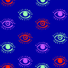 The Third Eye. Pop Arty Vibrant Seamless Pattern. Wide Open Human Eyes, Stylized Simple Linear Vector. Trendy Hand Drawn Graffiti Style. Cool Icons, Trendy Colors. Hip Decor, Wrapping Paper, Wallpaper