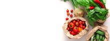 Garden Fresh Vegetables In Eco Friendly Bags On White