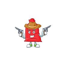 Santa Bag Close Cartoon Character As A Cowboy Holding Guns