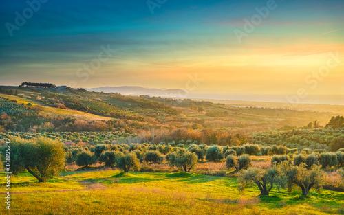 Maremma sunset panorama Canvas