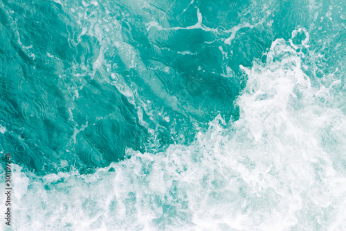 Olive green ocean wave during summer tide, abstract sea nature background Wallpaper Mural