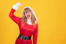 Woman Santa Claus Isolated Ela...