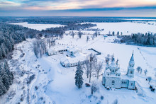 Russia. Smolensk Church. Temple Near Saint Petersburg. White Stone Temple. Temple In The Taiga. Monastery In The Winter Forest. Travel To The Temples Of Russia. Orthodox Churches Of Russia.