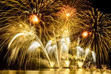 Gold Fireworks Background.